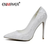 enmayer sexy lace pointed toe high heels slip on thin heels shoes woman basic springautumn fashion shallow women pumps 34 43
