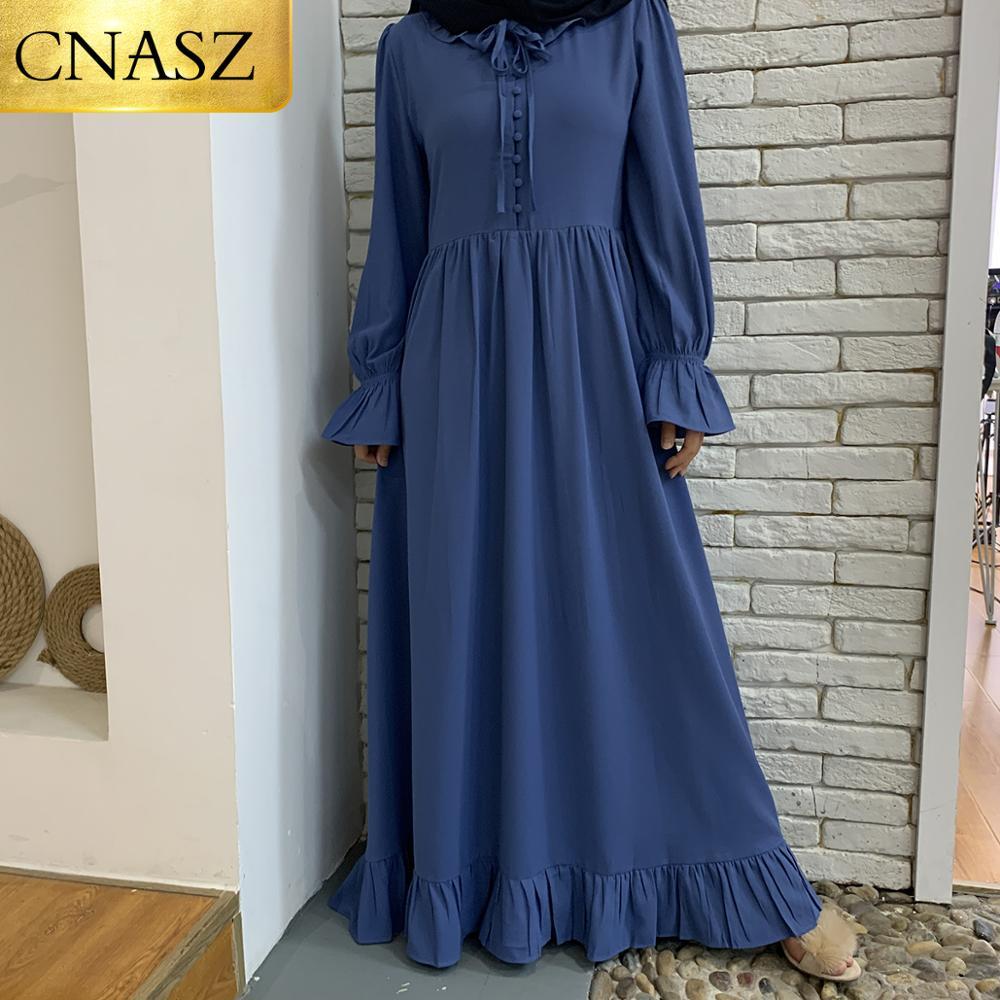 فستان ماكسي بكسرات للنساء المسلمات ، فستان طويل بأزرار ، أكمام طويلة ، نمط إسلامي ، جودة عالية ، مجموعة جديدة