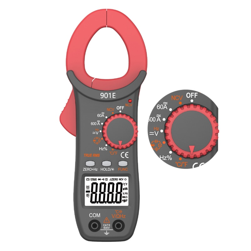 RM901E ACDC 600A medidor de pinza Digital 6000 recuentos NCV valores eficaces verdaderos diodo de capacitancia de resistencia de frecuencia de voltaje