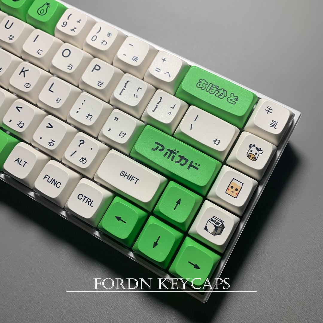 Avocado milk key, 137 key, PBT, sublimation, XDA, mechanical keyboard, Japanese and English, round, 61 key