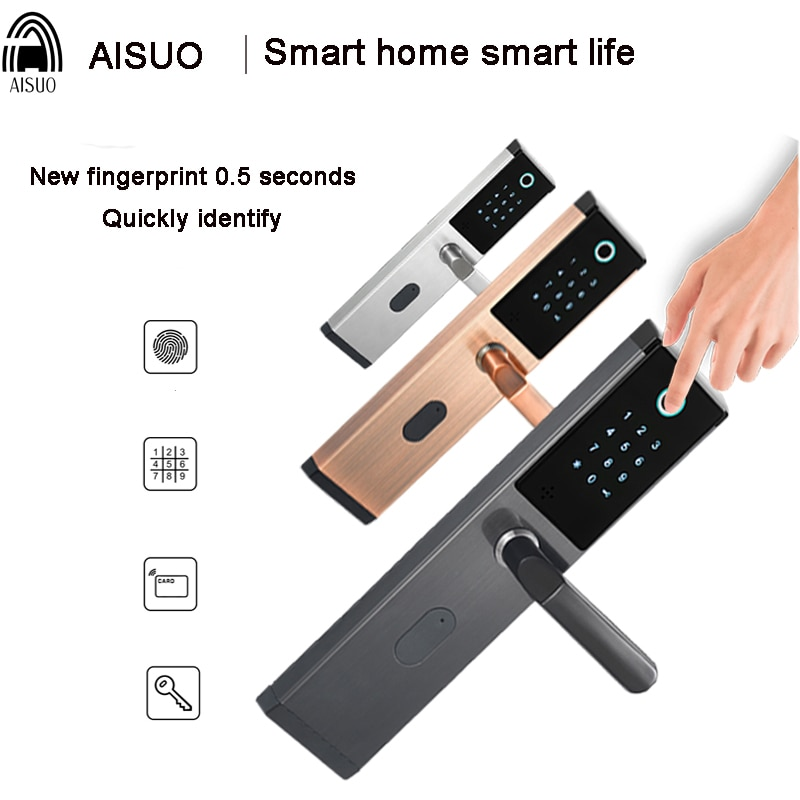 Promo Smart Door Lock Keyless Unlocking Fingerprint IC/ID Magnetic Card Password Lock Core Handle Home Hotel Electric Deadbolt Lock