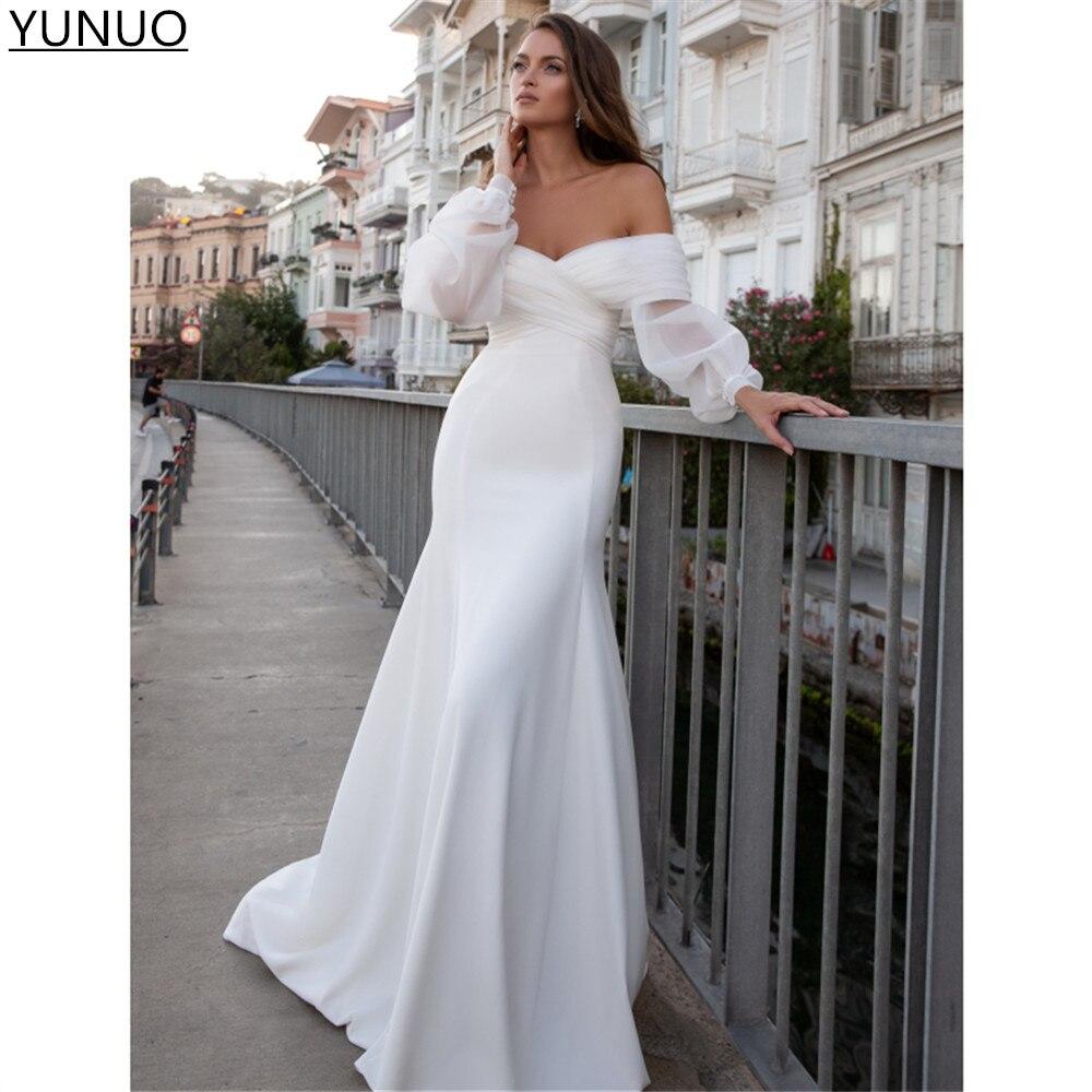 Promo YUNUO robe de mariée Satin Mermaid Wedding Dresses Long Puff Sleeves Sexy Off The Shoulder Boho Bridal Gowns White/Ivory Custom