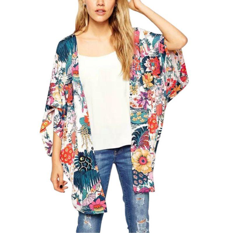 Camisa chal holgada Floral para mujer, verano, Casual, Cardigan, blusa de chifón Boho, blusa de gran tamaño para mujer, ropa de playa, Mangas de murciélago