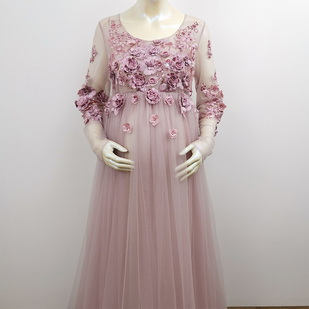 Don&Judy Mauve Tulle Maternity Dress Photo Shoot Photo Props 3D Floral Embroidery Long Sleeves Pregnancy Dress 2020 Party Gown enlarge