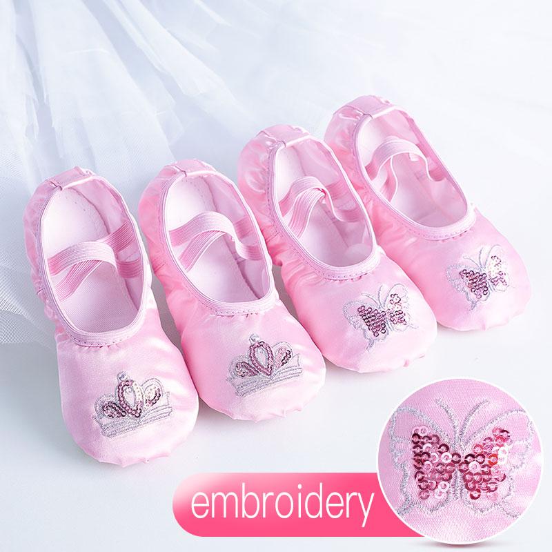 Балетки детские атласные на мягкой подошве, плоская обувь для танцев, с вышивкой пайетками, балетки, балетки