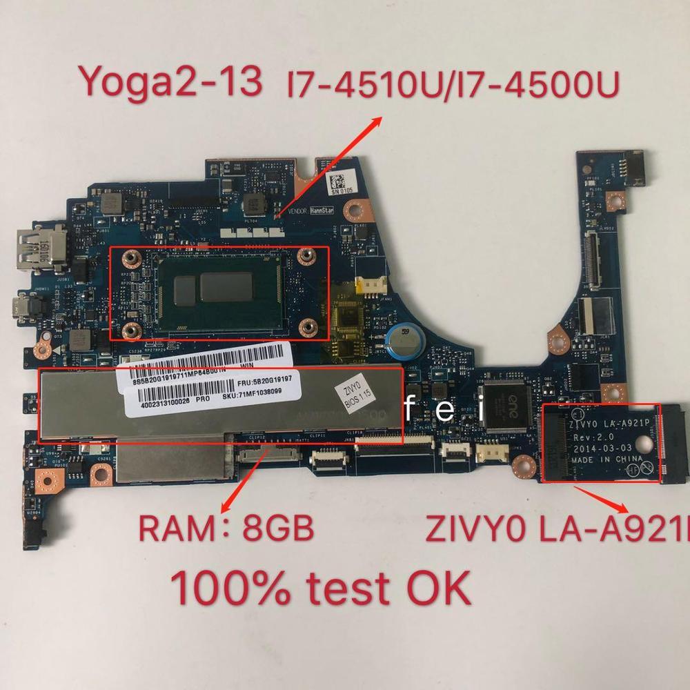 ينطبق على YOGA2-13 اللوحة الأم دفتر I7-4510U 8G I7-4500U 8G عدد LA-A921P FRU 90005926