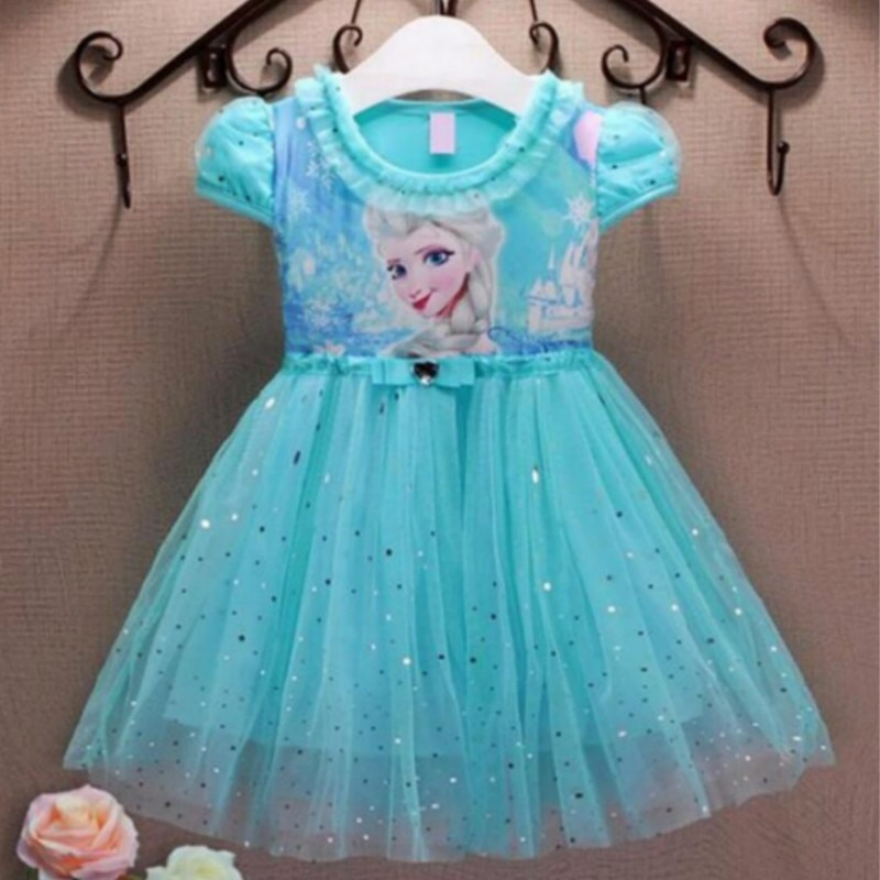 Платья для девочек; Летняя детская одежда; Платье принцессы Анны и Эльзы; Карнавальный костюм Снежной Королевы; Вечерние костюмы для детей