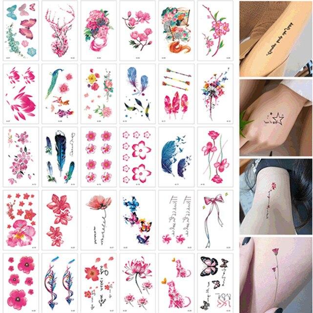 30 unids/set Faux Tatouage flor pluma pegatina tatuaje temporal para la pierna manos brazo DIY arte de cuerpo Sexy tatuaje de las mujeres del chica impermeable
