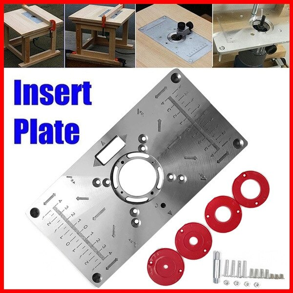 Wood Router Table Insert Plate Woodworking Benches Wood Router Trimmer Workbench Milling Woodworking Machine with 4 Rings