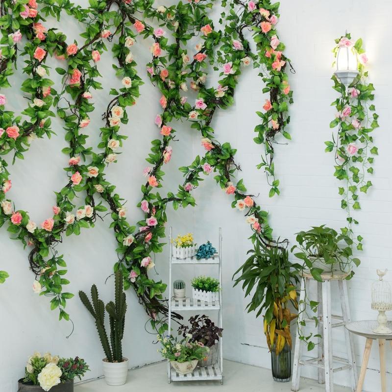 235cm Silk Roses Ivy flower Vine Artificial Flowers Green garland For Home Wedding garden Decoration Hanging Rattan Wall Decor