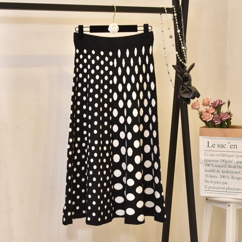 Sherhure-تنورة محبوكة بخصر عالٍ للنساء ، ملابس طويلة قابلة للتمدد مع نقاط مطبوعة ، ملابس شتوية ، مجموعة 2020