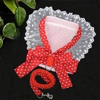 sweet dog harness beautiful lace cat leash bow knot chest strap dog collar pet supplies dog accessories dog leash red bow