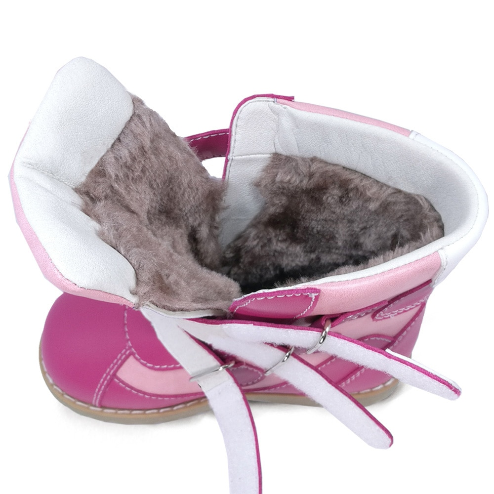 Ortoluckland Girls Casual Shoes Kids Long Fur Snow Pink Boots Children Orthopedic Princess Classic Footwear For 5 6 7Years Old enlarge