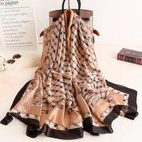 2021 korean style 180x90cm silk scarf lady wraps lattice print bufanda beach scarves stole luxury foulard hijab pashmina shawls
