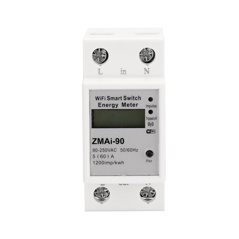 Monofásico ruído trilho wi fi inteligente consumo de energia medidor kwh wattmeter suporte smartlife/tuya app funciona