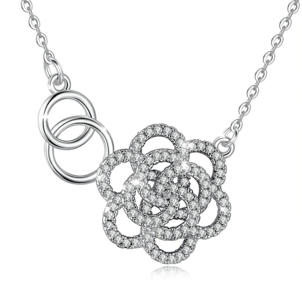 Collar romántico de Plata de Ley 925 Eudora con colgante de flor con circonita AAA, joyería de cristal para mujeres y niñas, el mejor regalo D025