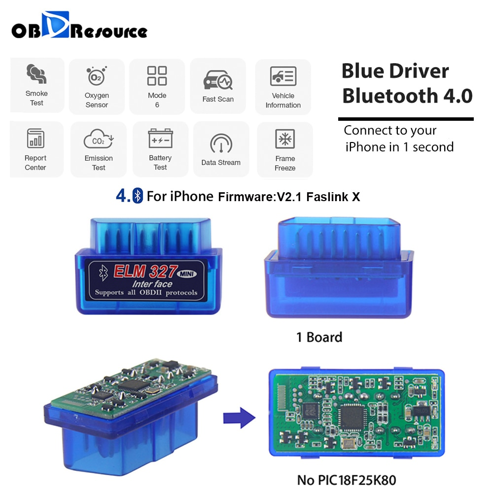ELM 327 V2.1 Bluetooth 4.0 FasLink X Car Diagnostic Scan Tool Code Reader ELM327 BlueDriver OBD2 Scanner For Android iPhone iOS