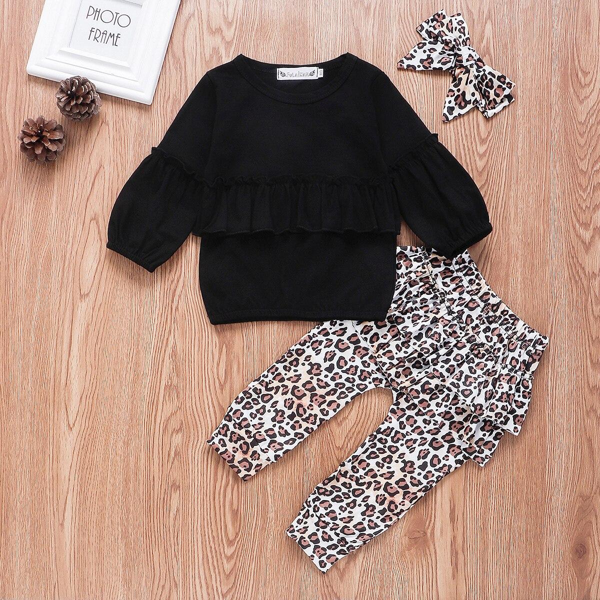 ¡Novedad de otoño 2019! Conjunto de ropa para niña bebé con volantes y manga larga, pantalones con estampado de leopardo y Diadema, Set de ropa de 0 a 3 años