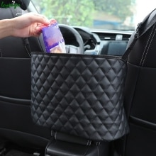 Car Large Capacity Storage Pocket Seat Crevice Net Handbag Holder Luxury Leather Seat Back Organizer