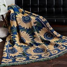 sunflower Knitted Throw Blanket Cotton Sofa Throw Blanket American sofa cushion country cloth art sofa cover blanket Home Textil