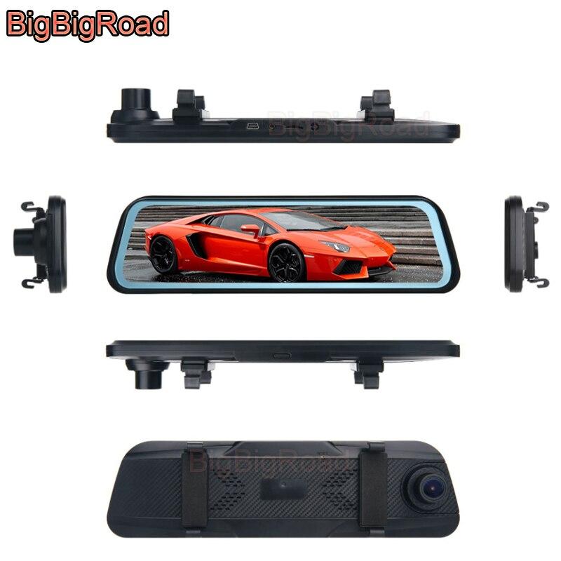 Bigbigroad DVR para automóvil Dash Cam Cámara corriente espejo retrovisor IPS pantalla táctil para Toyota Tacoma 4Runner FJ Cruiser Zelas Venza