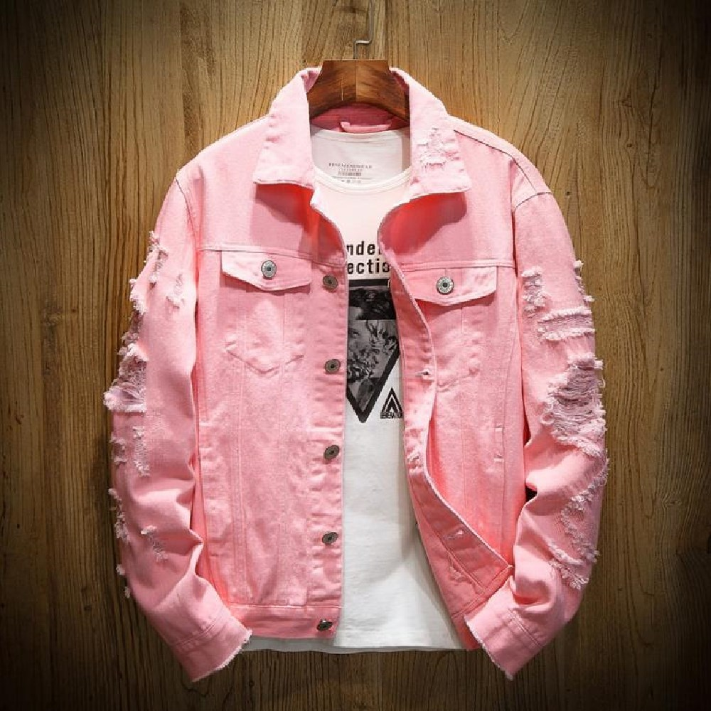 spring and autumn men denim jackets with holes plus-size plus-size baggy casual jackets fashionable street style denim jackets