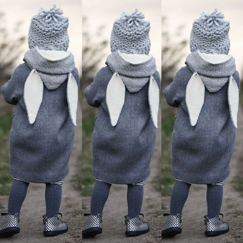 Maluch Kid Girls jesienne ubrania chłopiec ubrania śliczne z długim rękawem ucho królika z kapturem płaszcz ciepła kurtka zewnętrzna wiatrówka