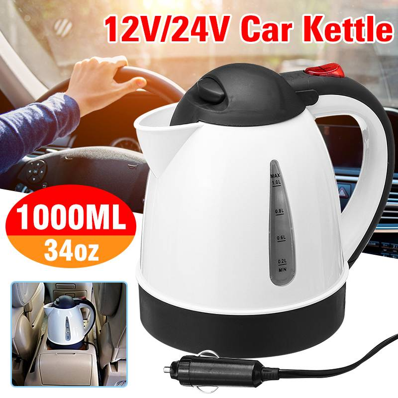 1Л 12 В/24 В автомобиль грузовик Электрический нагревательный чайник водонагреватель быстрый нагрев термосы из нержавеющей стали авто путеше...