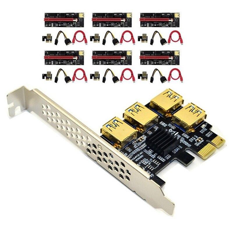 USB 3.0 PCI-E Express 1X إلى 16X محول بطاقة الناهض PCIE 1 إلى 4 فتحة PCIe مهايئ منفذ بطاقة للتعدين BTC جهاز تعدين بيتكوين