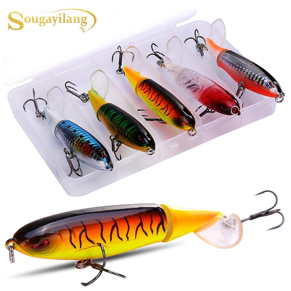 Sougayilang, 5 uds., señuelo de pesca con caja, señuelos duros, señuelos, señuelos, cebos carnadas con articulaciones, anzuelo, señuelo de pesca realista
