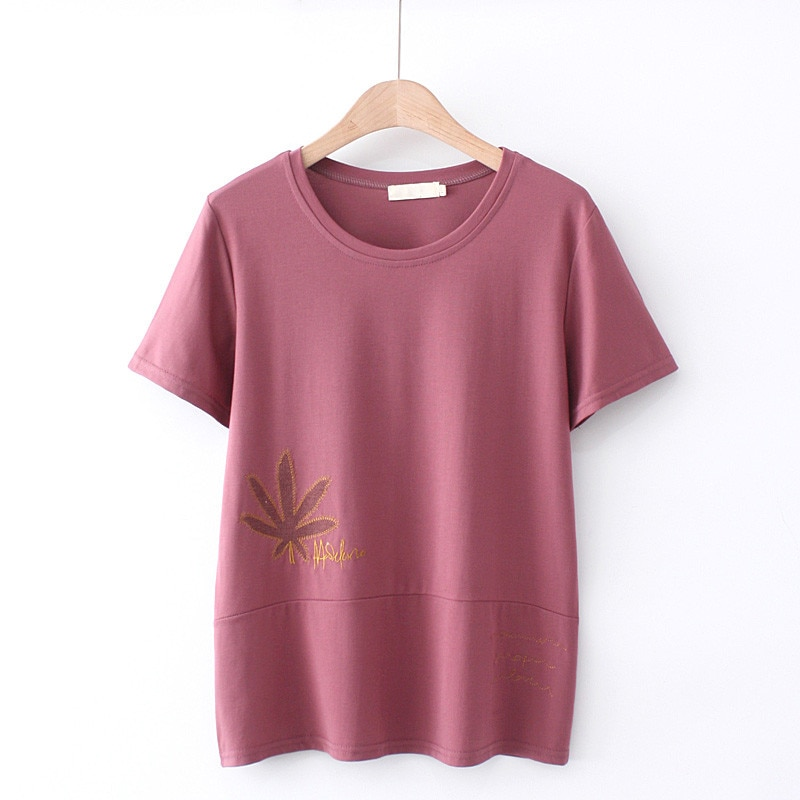 Plus Size Women Tops T-Shirt Short Sleeves O-Neck Embroidery Tencel Cotton Summer Dress Under 220 Pounds For Fatlady Wear Summer