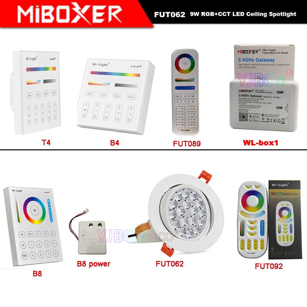 Miboxer 9W RGB+CCT LED Ceiling Round Spotlight AC86-265V FUT062/FUT089/FUT092/B8/B4/T4/WL-Box1 2.4G controller