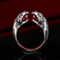 new exaggerated animal double headed cobra ring mens ring bohemian red crystal inlaid ring accessories party jewelry