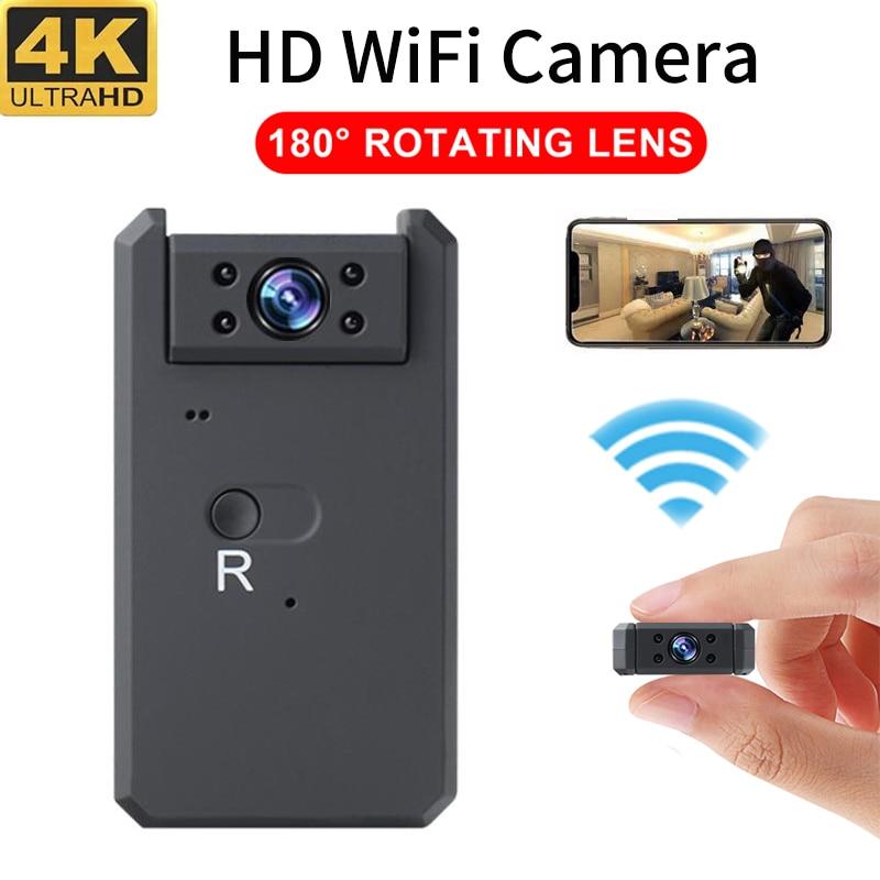 Wifi Mini Camera 4K HD Rotate 180 Degrees Wireless Smart Home Camcorder Night Vision DVR Motion Dete