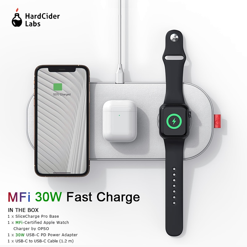Promo MFi Wireless Charger 30W Fast Charging 3 in 1 Pad for iPhone 11 Pro Apple Watch 5 4 3 2 Airpods Hard Cider Labs SliceCharge Pro
