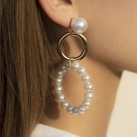 bohemian imitation pearl alloy round pendant earrings womens new fashion simple double layer bride sweet romantic jewelry