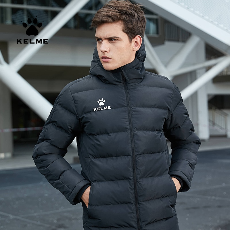 KELME Men's Cotton Jacket Couple Hooded Warm Coat Training Sports Team Uniform Cotton Padded Overcoat 3881405