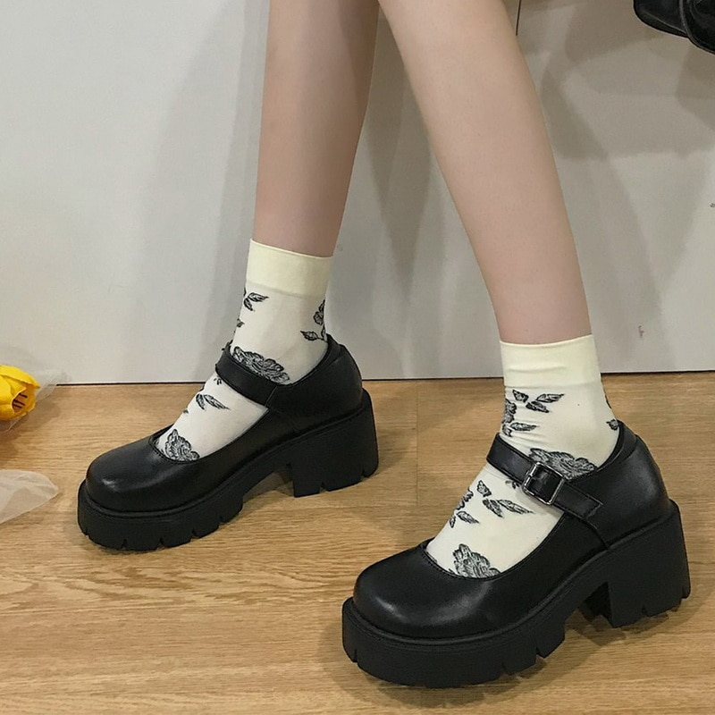 Student Shoes College Girl Student LOLITA Shoes JK Uniform Shoes PU Leather Heart-shaped Ankle-strap Mary Jane Shoes japanese lolita shoes mary jane pu leather jk love girl student kawaii sweet round head waterproof black shoes anime cosplay