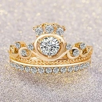 2021 new hot sale fashion golden crown engagement ring for women european and american party wedding jewelry