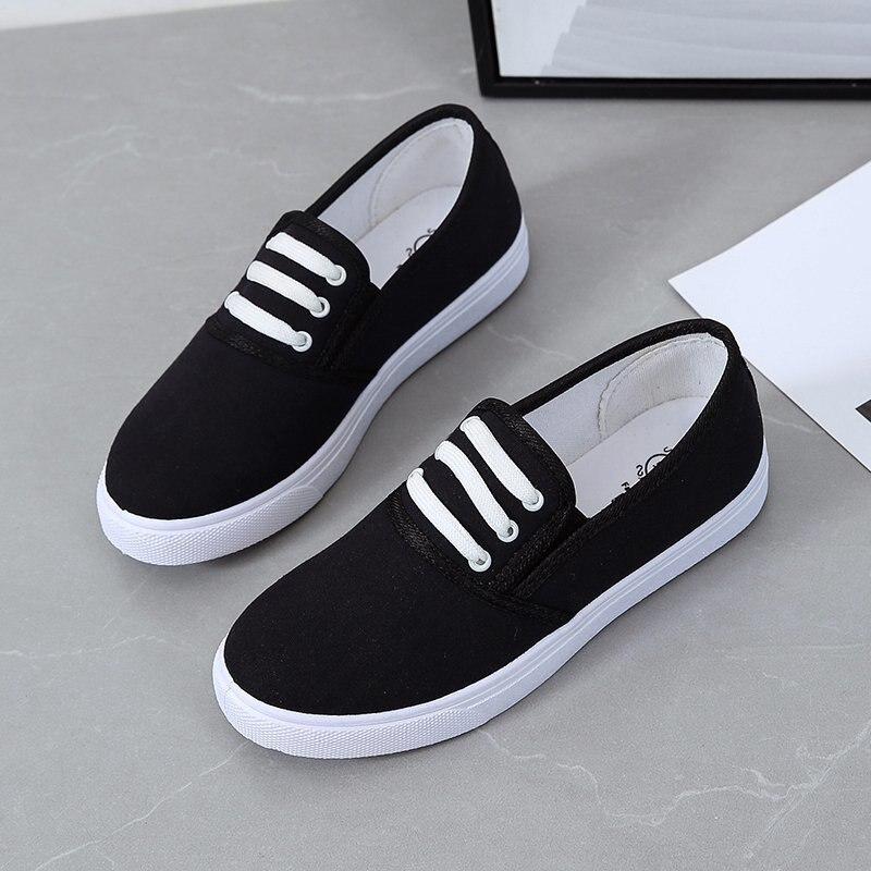 Туфли женские холщовые без шнуровки, лоферы, повседневная обувь, плоская подошва, Нескользящие эспадрильи, черные