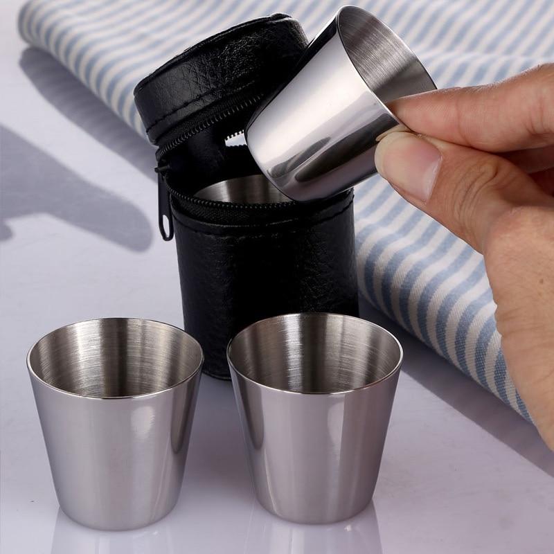 4 Uds 30ml al aire libre práctico tazas de acero inoxidable juego de chupitos Mini vasos viaje Whisky vino juego de tazas de café taza de café