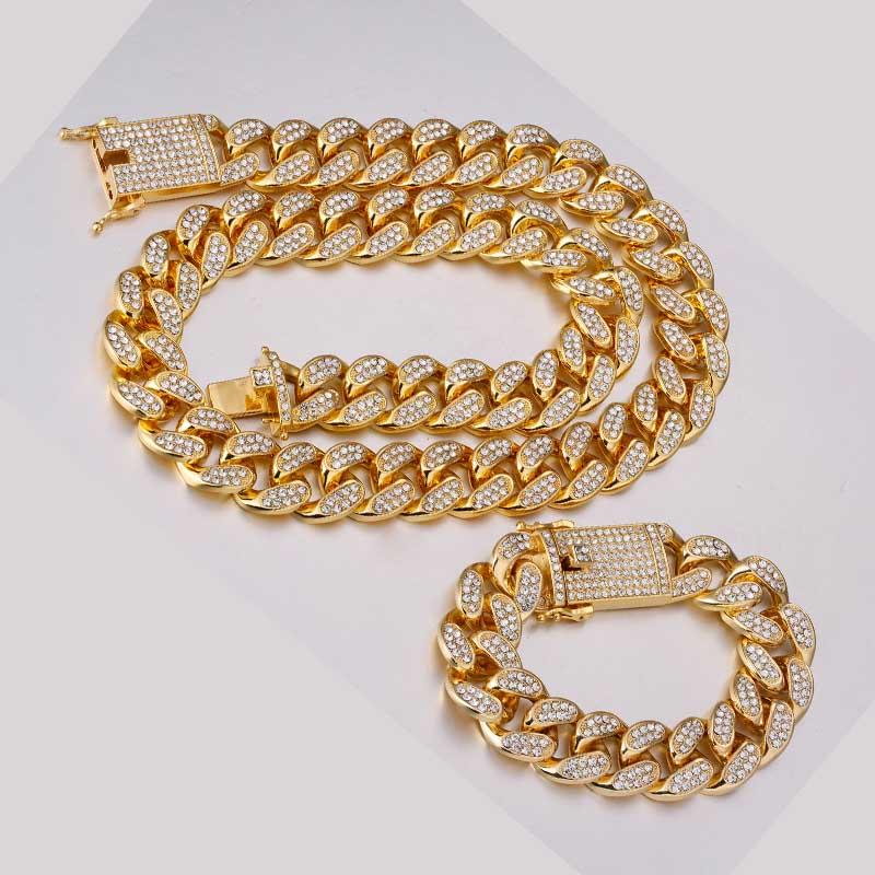 Hip-hop 1 set of 20 mm rhinestones Miami Cuban chain bling rap bracelet bracelet necklace men's jewelry