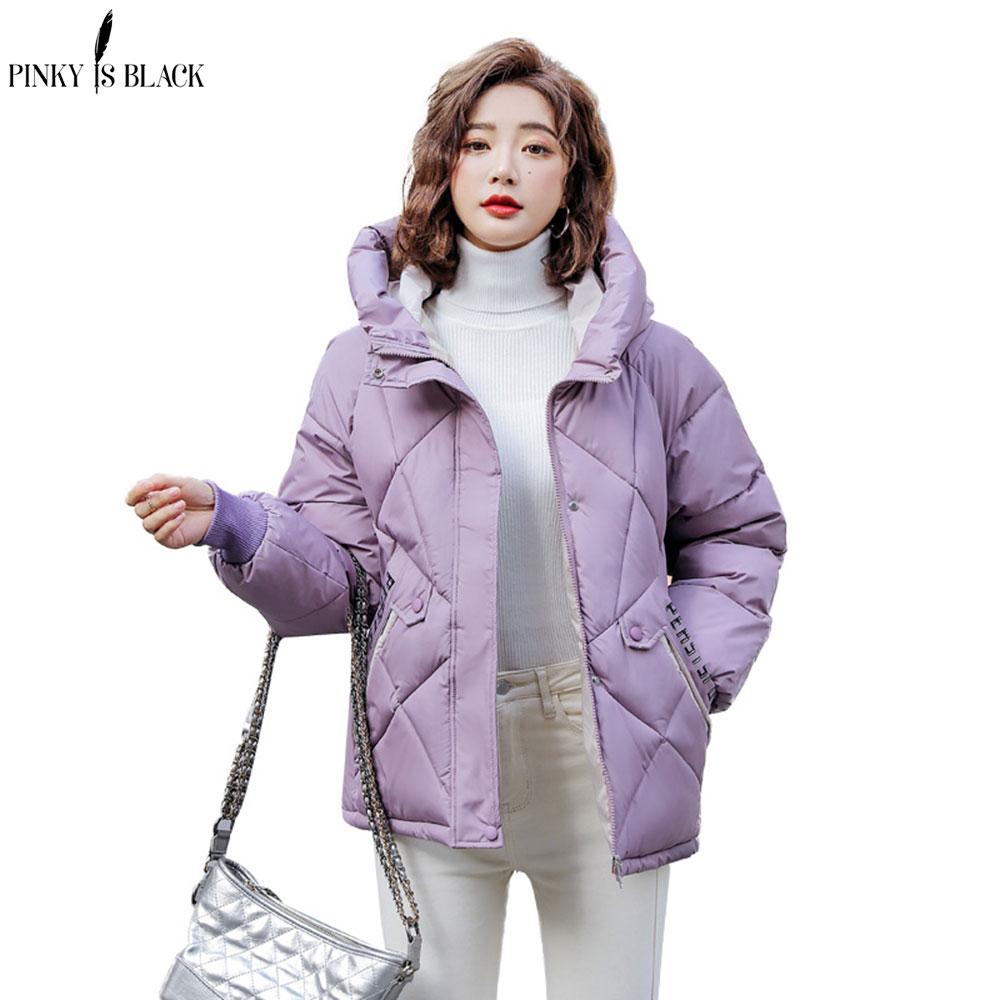 PinkyIsBlack 2020 New Winter Jacket Women Parkas Hooded Thick Down Cotton Padded Female Jacket Short Winter Coat Women Outwear недорого