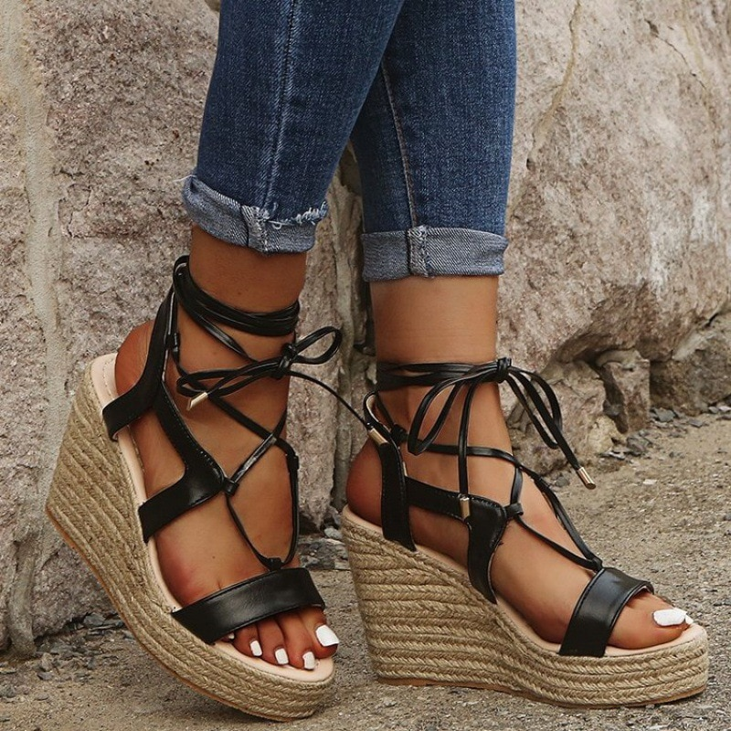 Hemp Rope Braided Edge Cross Strap Wedge Women Sandals 2021 Summer Plus Size Platform High Heel Fish Mouth Casual Female Sandals