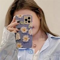 iphone case ins art white oil painting flowers 1112promax minixxsxrse mobile fangle phone case applicable phone case