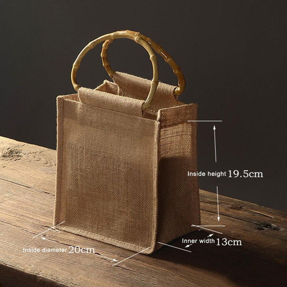Reusable Natural Linen Gift Bag Bamboo Handle Environmental Handbags Storage Organizer Wedding Birthday Party Gift Packing Bags