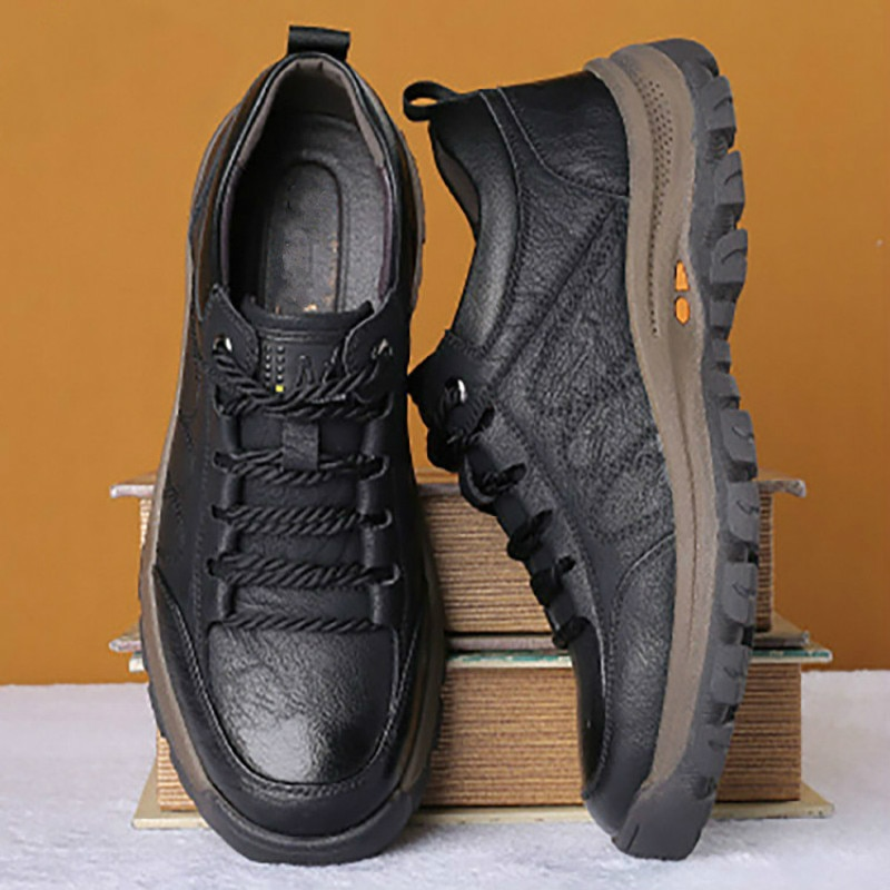 casual british style vintage thick soles platform shoes retro female harajuku lace up flat leather shoes college woven creepers Leather Men Casual Shoes Spring Lace-up Platform Sneakers Travel Shoes Wear-resistant Shoes British Style Men's Sneaker Shoe