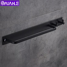 Space aluminum Black Towel Bar With Clothes Hook Hanger Single Towel Bar Towel Holder Bathroom Accessories
