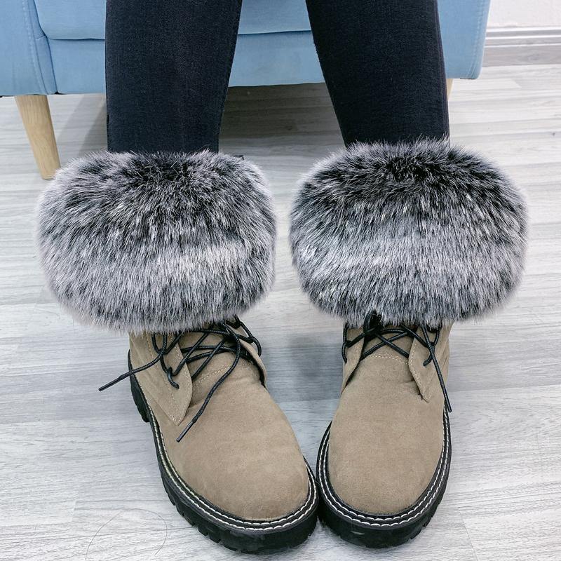 Pair Faux Fox Fur Cute Warm Winter Knee Sleeve Ankle Warmer Ring Women Casual Solid Solor Stretchy Knee Sleeve Kawaii Snow boots