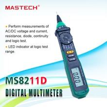 Multímetro digital MasTech MS8211D Tipo de rotulador rango automático DMM multímetro probador de corriente de voltaje probador de nivel lógico